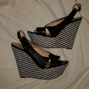 Sole Society Black/White Platform Sandal Size 11M
